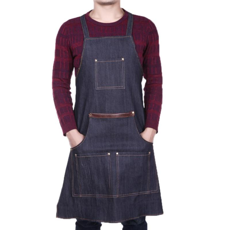 Unisex Pocket Antifouling Denim Cloth Cafe Kitchen Cooking Bibs Work Apron Family Salon Work Apron Hairdressing Coloring Wrap 22783 3 917479