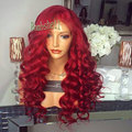 Cheap full Long kinky curly heat resistant red cosplay wig synthetic lace front red wig with baby hair for fashion black women