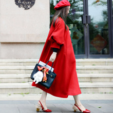 Зимнее шерстяное пальто женское винтажное Ретро красное с пуговицами длинное с рукавами-фонариками длинное пальто куртка