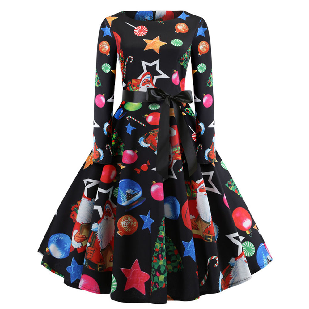 Women's Vintage vestidos dress women party dress Print with Belt Halloween Christmas Evening Party Swing Dresses dropship #F