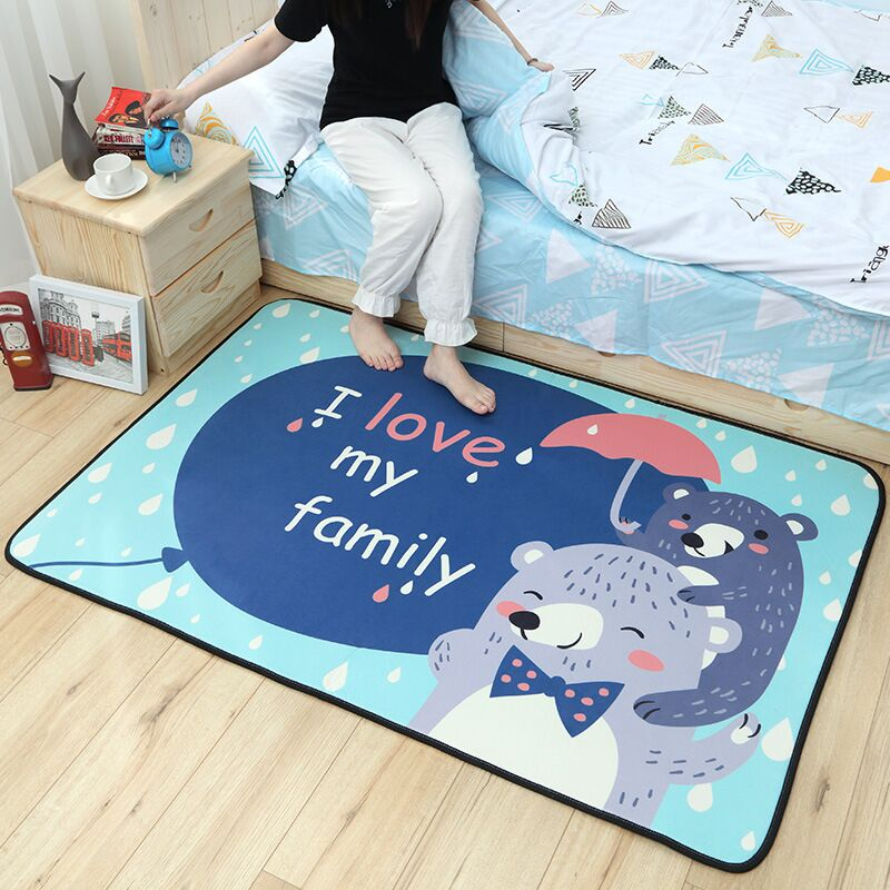 Cartoon carpet bedroom cute child crawling mat living room coffee table blanket room home machine bed washing bed front blanket fashion thicken soft coffee color carpet floor living room area rug mat bedroom home carpets doormat washable size 80 160 3 cm page 2
