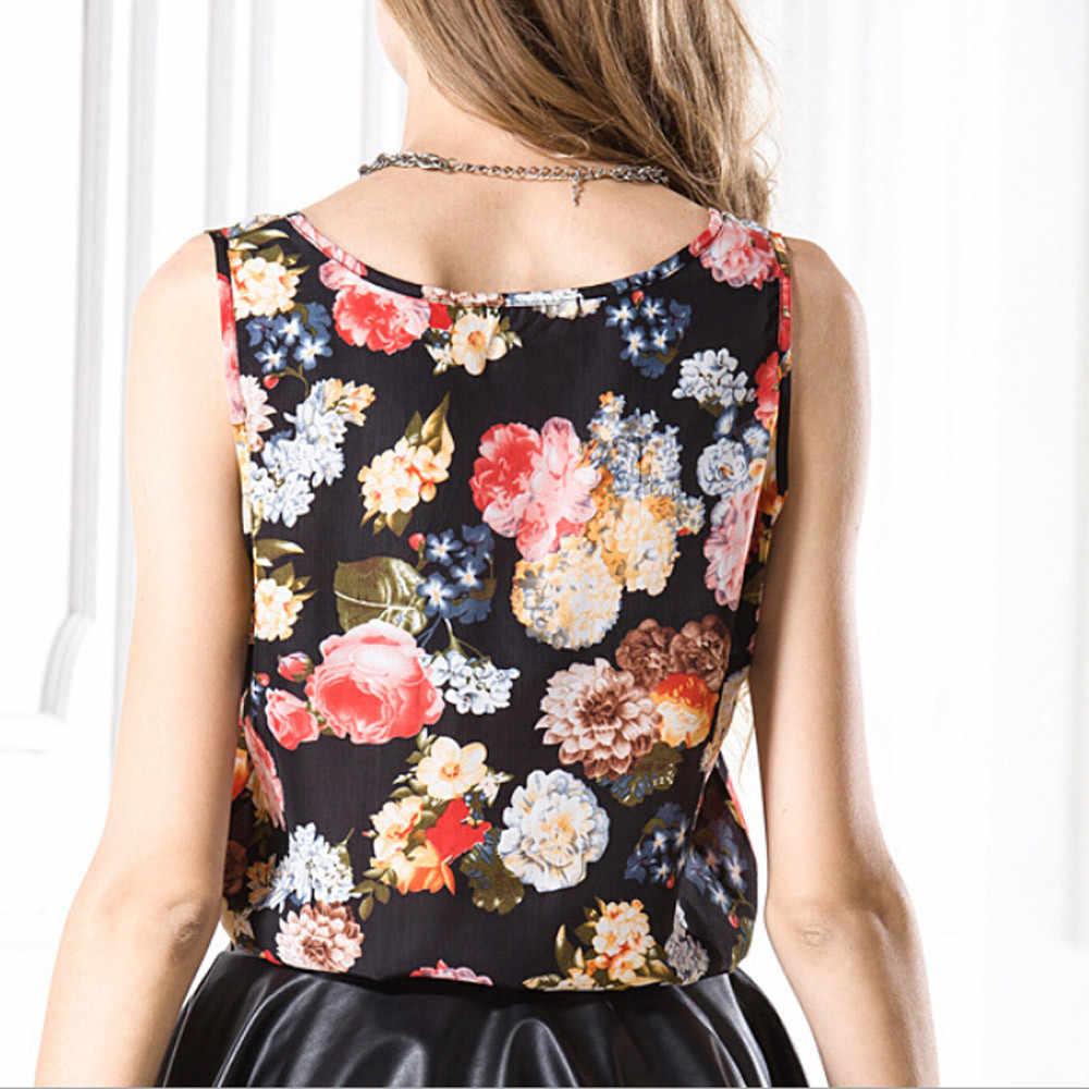 Feitong אופנה קיץ נשים שיפון פרחוני מודפס אפוד O-צוואר טי למעלה ליידי חולצה מקרית שרוולים חולצה קיץ נשי Blus