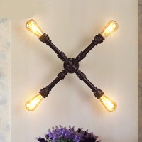 Industrial water pipe wall lamp 4 loft retro study cafe cross iron corridor bar bar decoration wall lamp ZL175