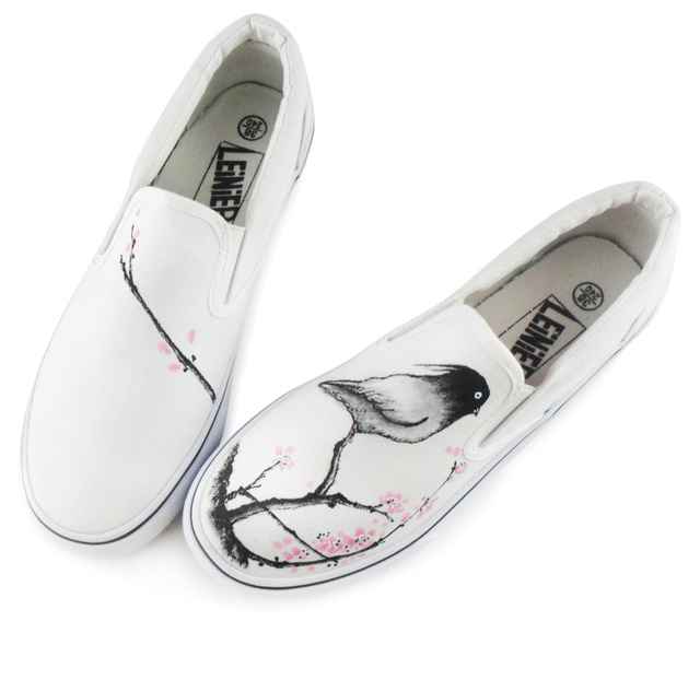 China Wind Hand-painted Shoes Canvas Shoes women Lazy Student Shoes Ink Birds'twitter And Fragrance Of Flowers