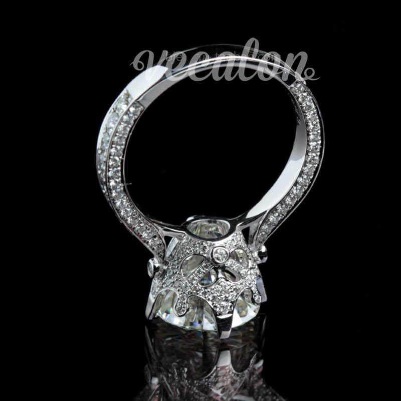 Vecalon ใหม่ผู้หญิง VINTAGE เครื่องประดับแหวนรอบ 3ct AAAAA Zircon CZ 925 เงินสเตอร์ลิงแหวนหมั้นแหวนแต่งงานสำหรับผู้หญิง