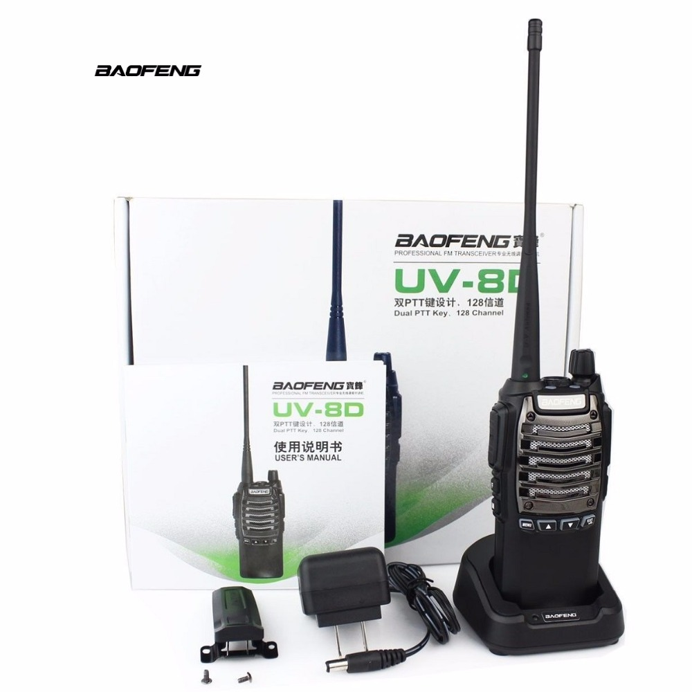 BAOFENG BF8D Big 8W Transmit Power Walkie Talkies with Menu Button 400-480MHz UHF DTMF FM Vox Transceiver Protable Interphone