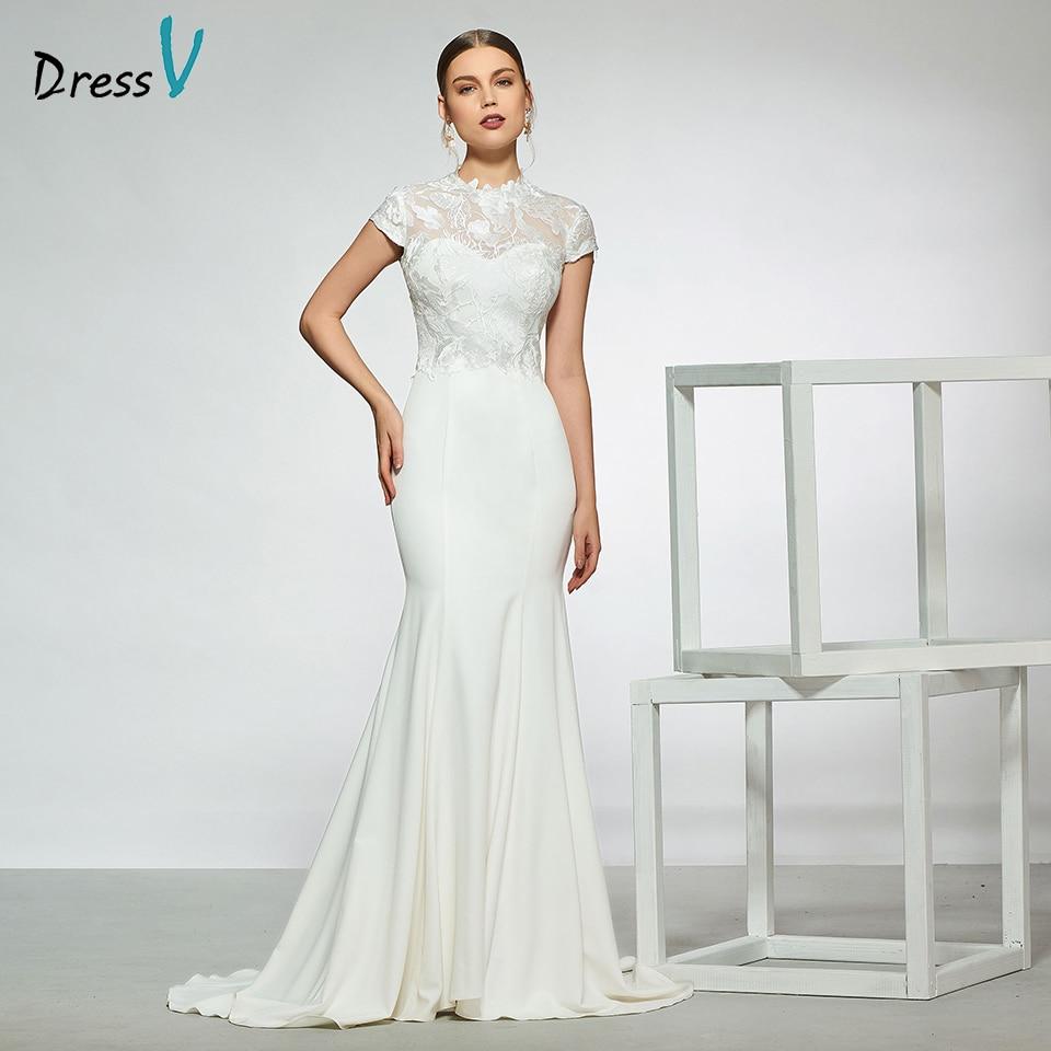 Dressv elegant high neck wedding dress sleeveless lace mermaid zipper up  floor length simple bridal gowns wedding dress