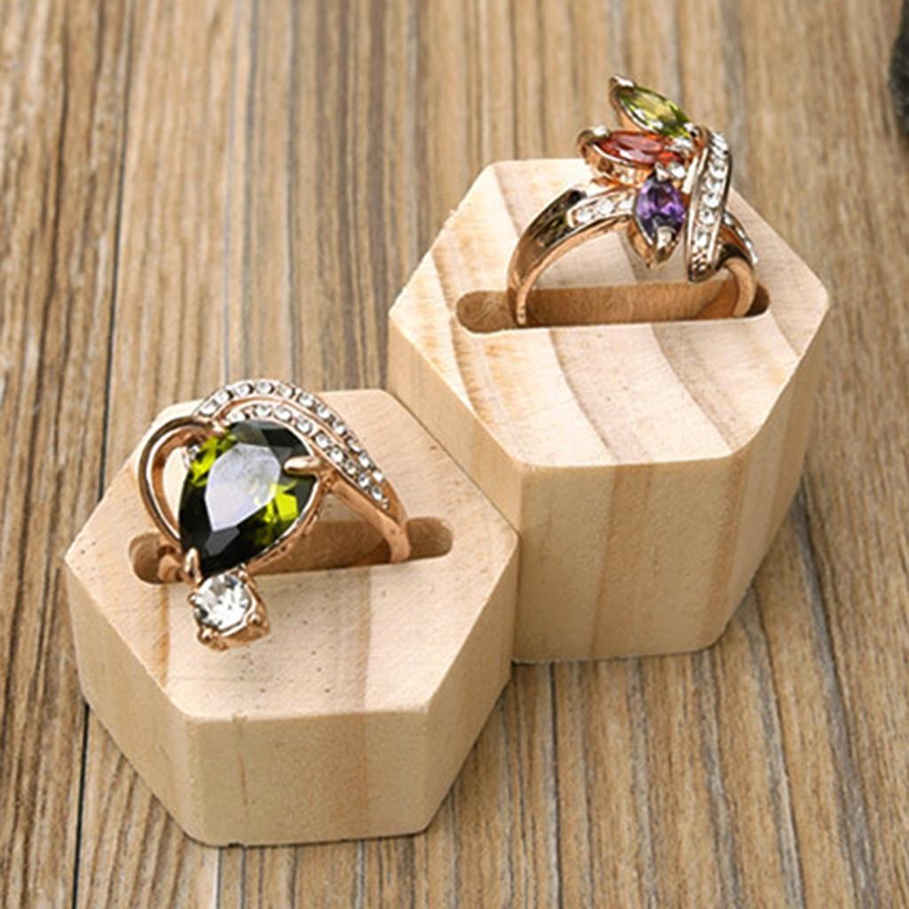 Hexagon Plain Wooden Ring Wedding Band Pillow Bearer Jewelry Display Holder