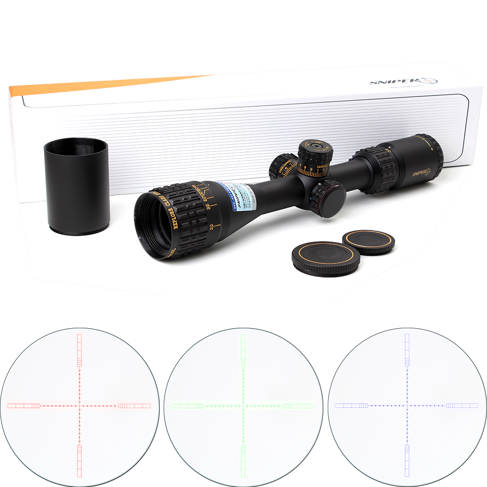 Tactical SNIPER NT 3.5-10X40 AOGL Jakt Riflescopes Optisk Sight Full-Size Glas Etsad Reticle RGB Llluminate Rifle Scope