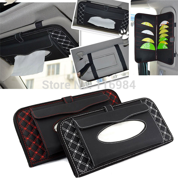 Multifunctional Car Interior Sun Visor microfiber leather Tissue Box Napkin Cover DVD & CD Case Folder