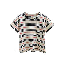 Famous Brand Striped Baby Boys Tshirts Children Summer T shirt for Boys Kids Side Slit Tee Tops 100% Cotton High Quality