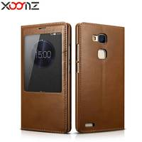 Xoomz For Huawei Mate 7 Case Luxury Genuine Leather Flip Cover Window View For Huawei Mate