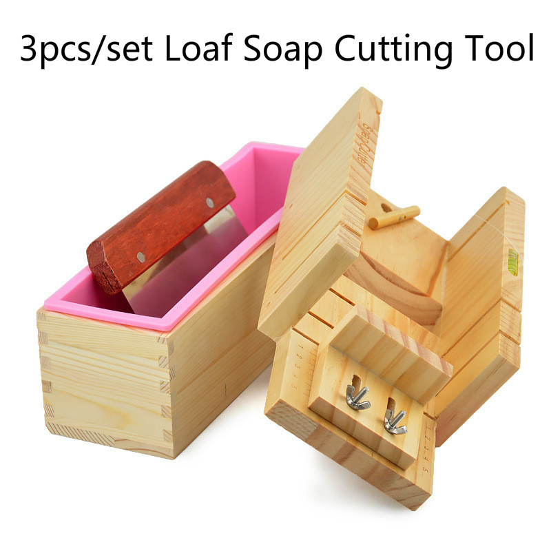 3pcs set Soap Making Tools Wood Cutting Box Silicone Mold Straight Blade DIY Soap Cutters Manual