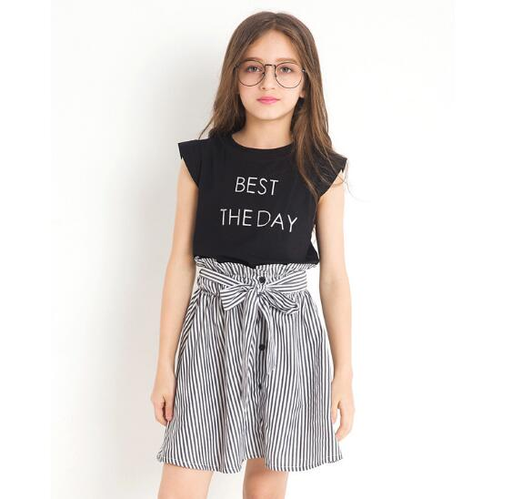 2018 New Fashion Autumn Girls Clothing Sets Childrens Letter Print T-shirts Tops + Striped Skirts 2 Pcs Girls Clothes 10 12 Year letter print striped tee