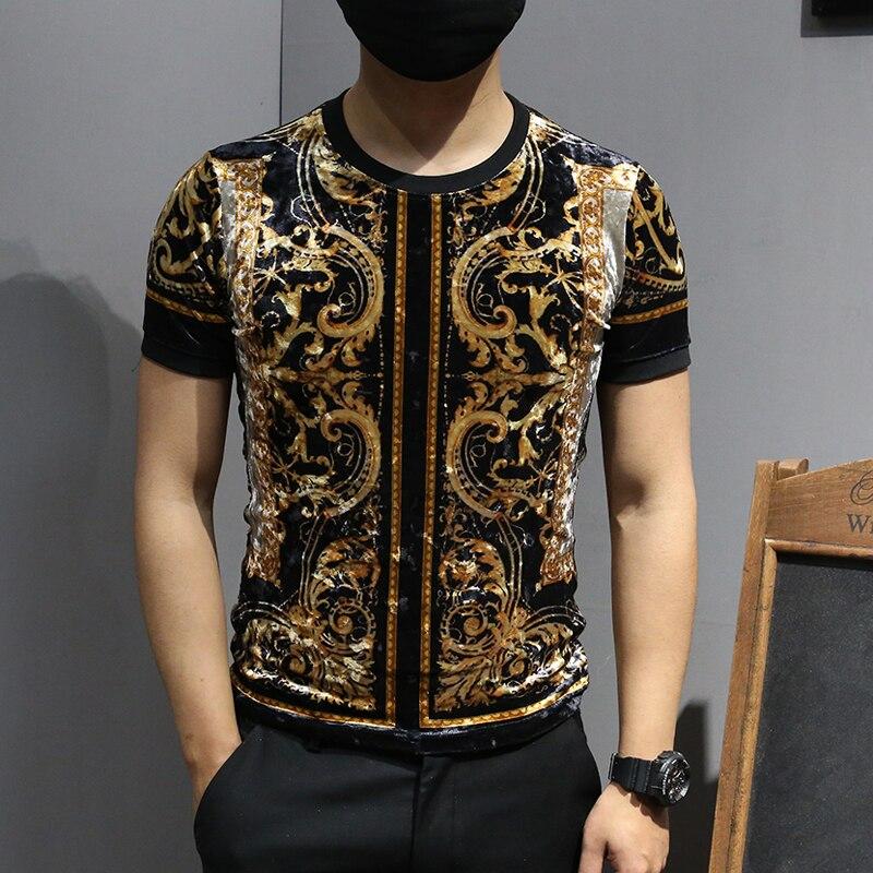 Luxe t-shirts hommes velours t-shirts Vintage homme or imprimé hommes t-shirts mode 2019 Royal Playera Club Baroque Animal imprimé