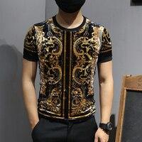 Luxury T Shirts Mens Velvet T Shirts Vintage Man Gold Printed Mens T Shirts Fashion 2019 Royal Playera Club Baroque Animal Print