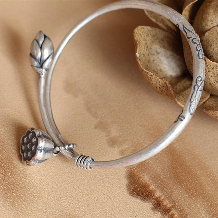 lucky pulseira jóias finas s990 prata chinses estilo budista lótus chian