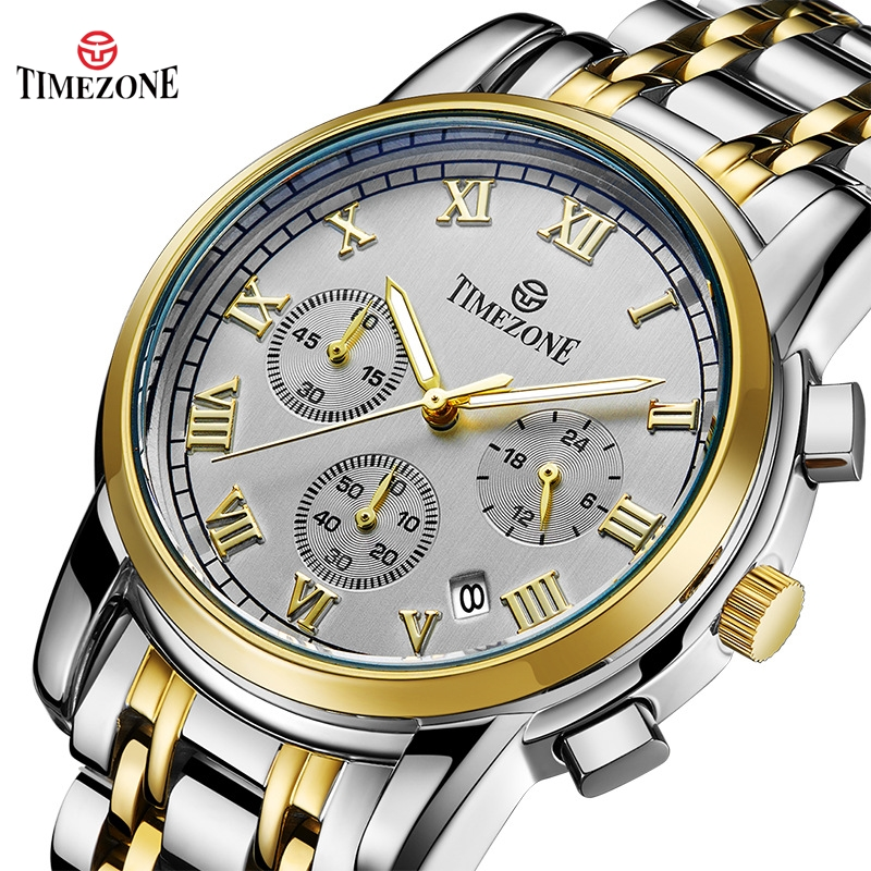TIMEZONE Original Men Business Watch Rose Gold Quartz Watch waterproof Mens Watches Top Brand Luxury Stainless Steel Male Clock new hot sale product longbo men watches luxury brand top grade gold stainless steel watch with quartz movement male clock 5061