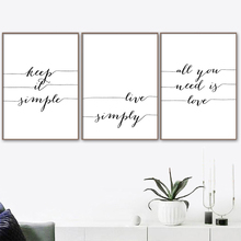 Black and White Quotes Canvas Painting All You Need Is Love Quote Poster Prints Nordic Style Minimalist Picture Room Home Decor