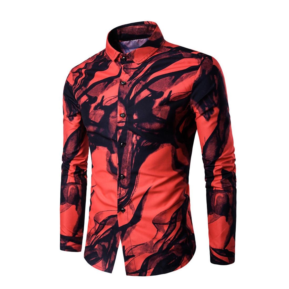 Printed Hip Hop Men Shirt Summer Long Sleeve Luxury Party Shirts Mens Turn-Down Collar Stylish Shirts 2017 Fashion 3D Camisas