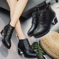 2017 jesień i zima nowe Europejskie i Amerykańskie buty szorstkie z nitami buty nagie kobiece kostka inicjuje Liu Ding buty ORATEE