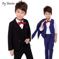 School Boys Suits For Weddings Dress Kids Prom Gentleman Party Jacket Vest Pants Tuxedo Clothing Set Child Formal Costume B047