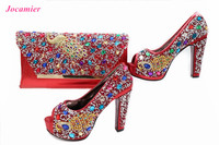 Jocamier High Heel Shoes And Bags To Match 12cm African Shoes And Bag Sets Italian Shoes