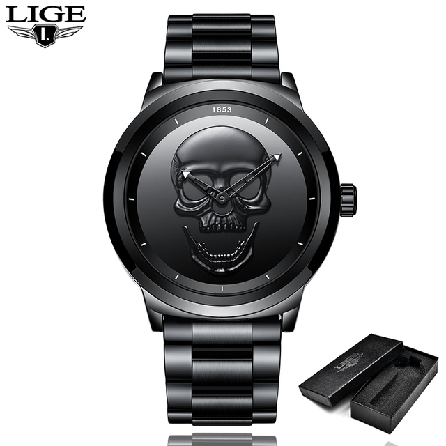LIGE Men Skull Watch Brand Luxury Stainless Steel Quartz Watches mens Business F