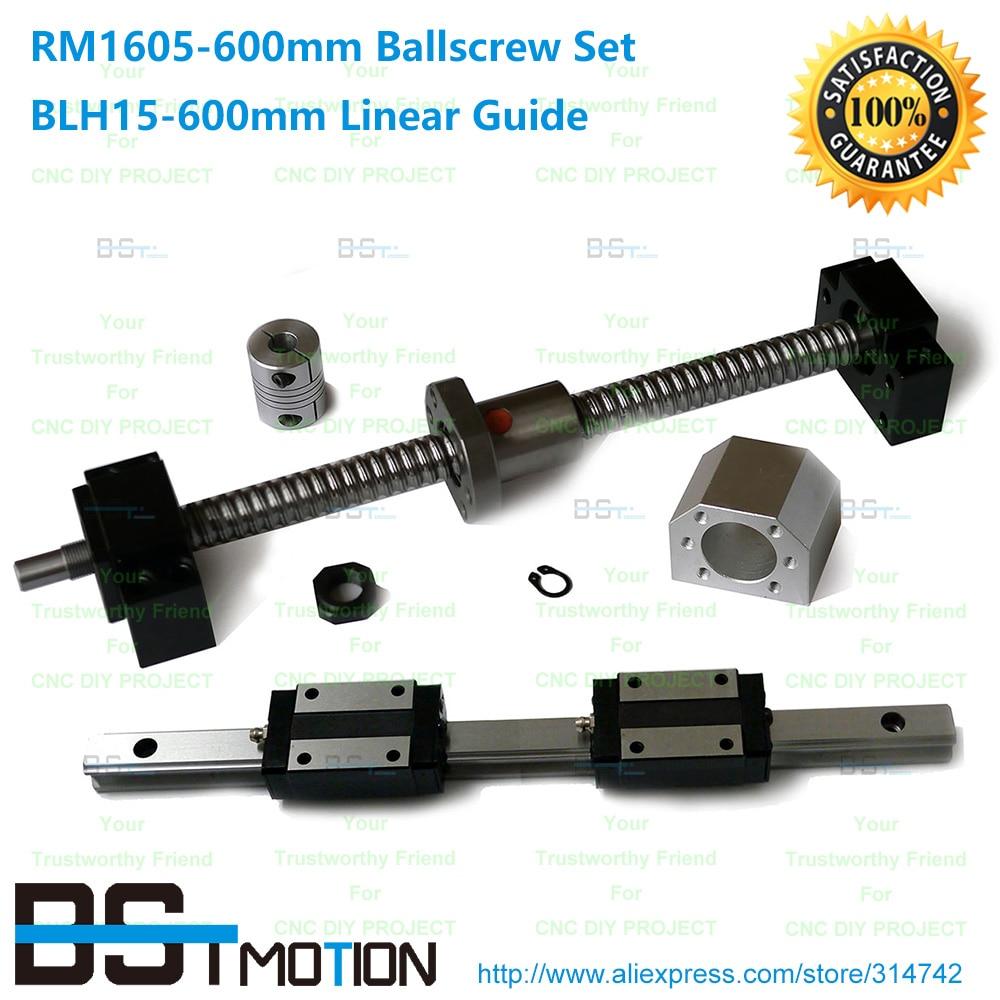 15mm- 600mm Linear Rail +BLH15N Linear Carriage+ SFU1605 Ballscrew RM1605 600mm Ball screw + BK12 BF12 + Nut Housing  Coupler