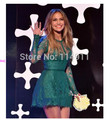 2015 Celebrity Dresses A-line High Collor Long Sleeves See Through Green Lace Elegant Evening Dresses Red Carpet Dresses