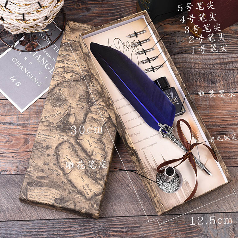1pcs Calligraphy Feather Dip Pen Writing Ink Set Stationery Gift Box with 5 Nib Wedding Gift Quill Pen Fountain Pen Fountain pen in Fountain Pens from Office School Supplies