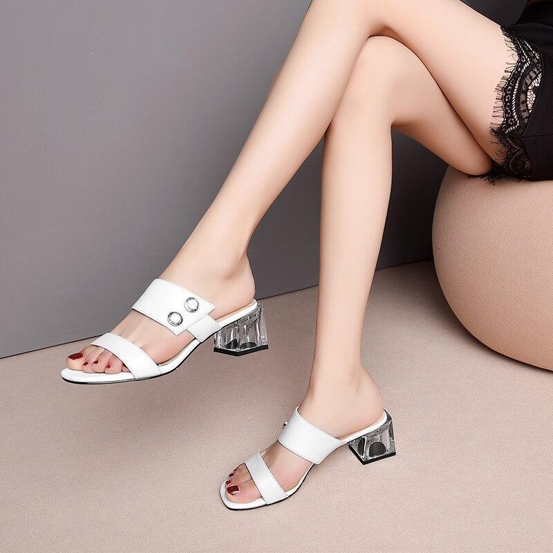 3513a3933b69ca D'été Confortable De Cuir Chaussures Mode Femmes Black Véritable Pantoufles  Semelles En white Élégantes Compensées Transparent 7w8qAW4W