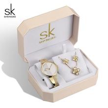 Shengke Brand Gold Creative Quartz Watch Women Earrings Necklace 2019 SK Ladies