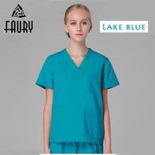 Unisex V-Neck Summer Nurse Seragam Hospital Scrub Perubatan Set Pakaian Pendek Sleeve Bedah Scrub Workwear Kot Pocketets Suit