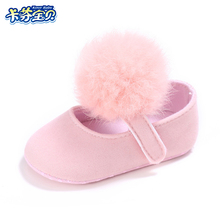Newborn Crib Shoes Infant Girls Hairball Soft bottom First Walkers Toddler Kids Cotton cloth Shoes 4 Colors 0-18 M Baby shoes