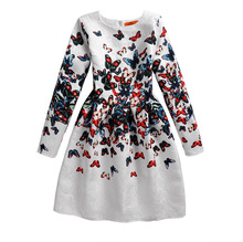 Autumn and winter new 8-14 years old children's dress jacquard butterfly print long-sleeved princess dress цены