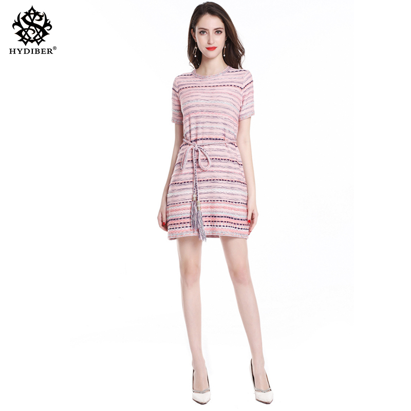 Knitted Belt Sweater Dress Womens summer Basic a line Dresses Fitness Office Lady Dress 2018 ...