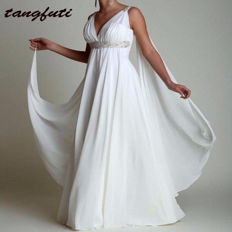 Vintage Cheap Wedding Dresses Long V Neck Long Chiffon Beach Maternity Bride Bridal Gowns Dress Greek