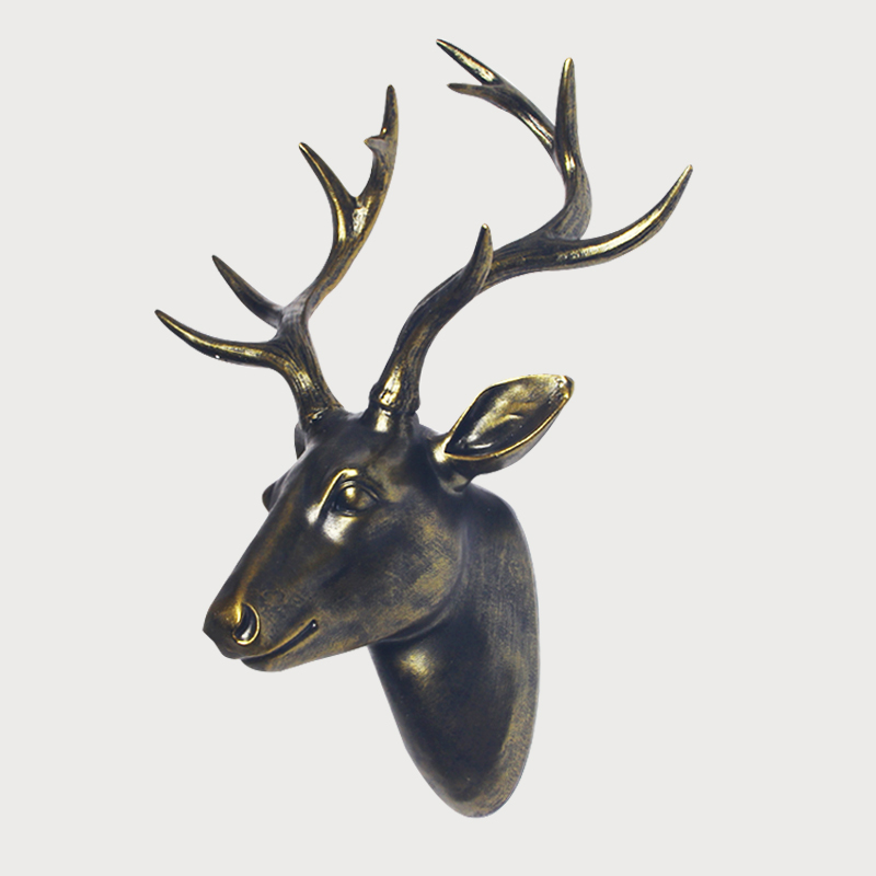 Golden deer head decoration wall hanging Nordic style creative animal head wall hanging bar clothing store wall decoration lucky Wind Chimes & Hanging Decorations     - title=
