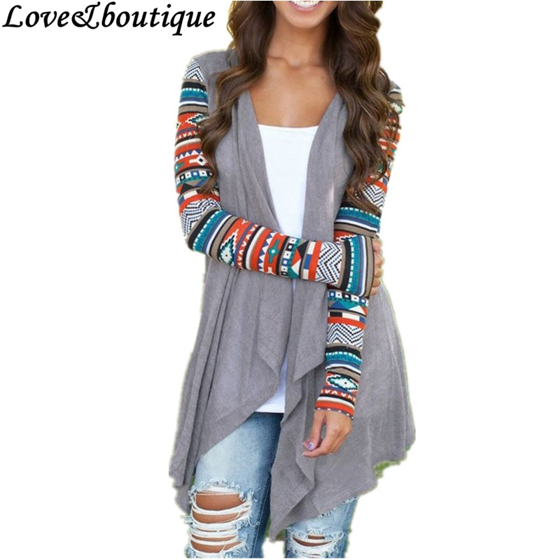 Sweater 2015 Autumn Women Grey Geometric Print Irregular Long ...