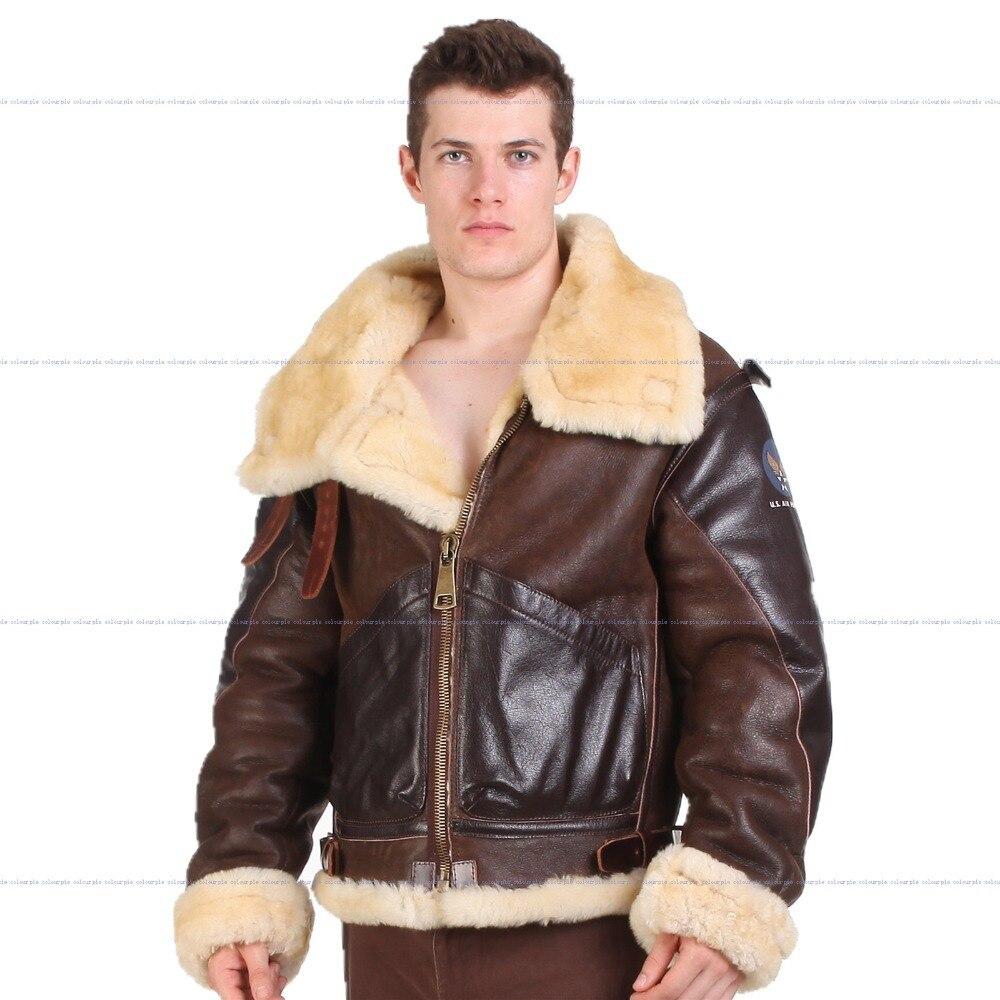 B3 Дубленки Кожаная куртка-бомбер меха пилот мира II летающие авиации воздуха американские военные силы самые теплые полярных пальто Для муж...