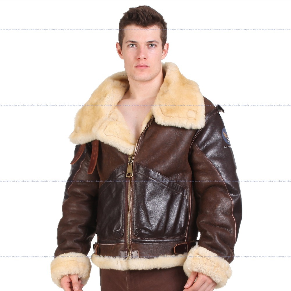 B3 shearling Leather jacket Bomber Fur pilot World II Flying ...