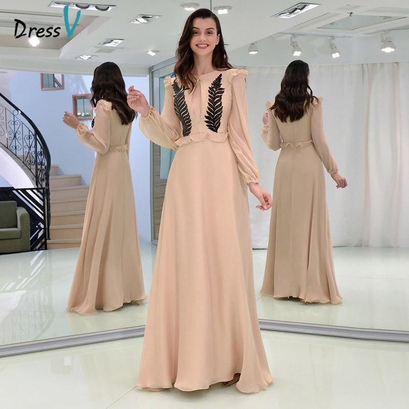 Dressv элегантный длинный рукав элегантный платье для выпускного вечера пол Длина линия оборками изготовление размеров под заказ шифон знаме...