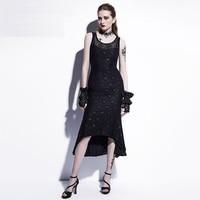 Sisjuly Gothic Maxi Mermaid Dress Black Sexy Lace Asymmetrical Trumpet Long Dress Fashion Women Summer Hollow