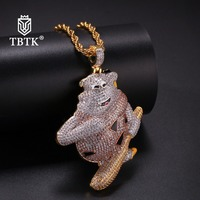 TBTK Happy Viking Bear Hold Baseball Model Iced Out Pendant Multicolor Zirconia Metal Trendy Jewelry Man Gold Chain Necklace