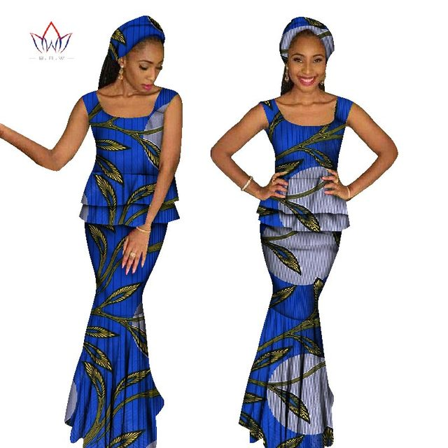 afeea396ec2 summer African Clothing For Women Two Piece Set Top and Skirt Set Africa  Print Dashiki O-Neck Plus Size set sleeveless WY1067