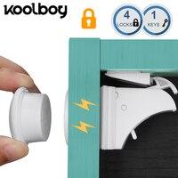 4 замка 1 ключ Магнитный детский замок безопасности шкаф замок детская защита дети ящик шкафчик шкаф детский замок