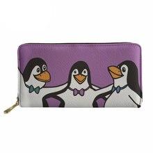 6a80b116d75ac Noisydesigns panie sprzęgła Pu skórzana torebka dla telefon pieniądze  pingwin kochanka drukowane portfele twoja własna karta