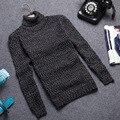 2016 Inverno Mens Camisolas de Gola Alta Pullovers Roupas Grossas Quentes Dos Homens do Algodão Camisola de Malha Blusas Masculinas Puxar Homme XXXL
