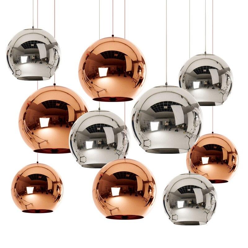 все цены на Modern chandelier ball E27 bulb copper/sliver/gold Plated Glass Shade pendant lamp for Dining room kitchen loft ZDD0007 онлайн